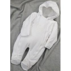 Zimní sametový overal Baby bílá