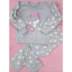 Pyžamo Tlapička šedá/růžová