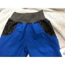 Softshellové kalhoty modré/vzor 98-110