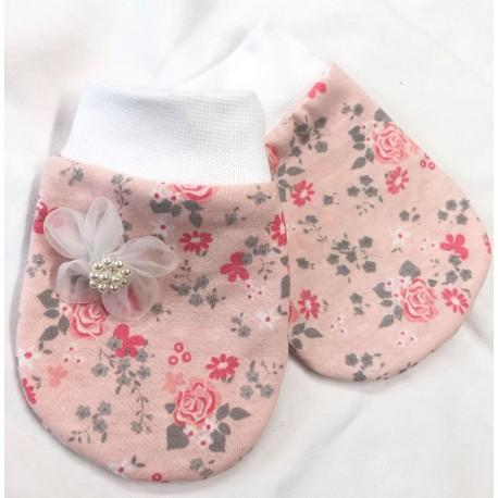Amálka - Luxusní bavlněné rukavičky květy růž