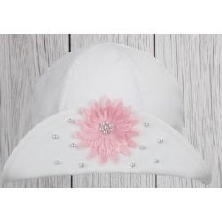 Dívčí klobouček Jasmína bílá/ růž. kytička