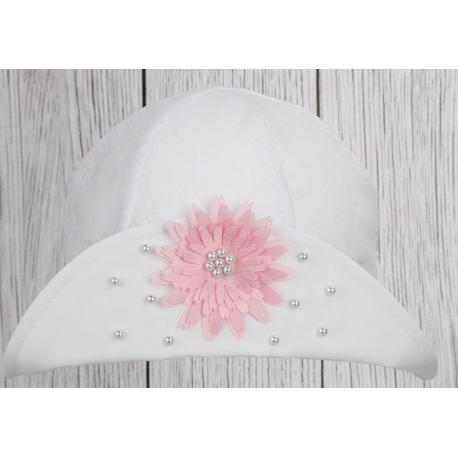Dívčí klobouček Jasmína bílá/ bílá kytička
