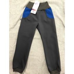 Softshellové kalhoty šedá/modrá 134-146