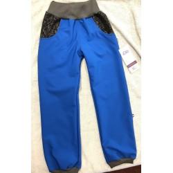 Softshellové kalhoty modré/vzor 116-128