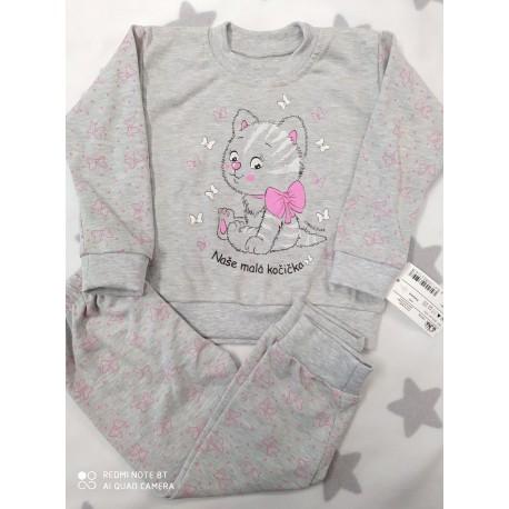 Pyžamo Kočička šedá/růž 86-116