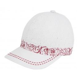 Luxusní dívčí kšiltovka z madeiry Anežka bílá/růžová