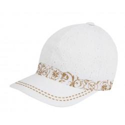 Luxusní dívčí kšiltovka z madeiry Anežka bílá/zlatá